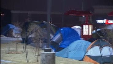 WEB EXTRA: Campers Outside Tulsa's Newest Chick-Fl-A Restaurant
