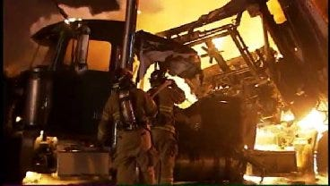 WEB EXTRA: Video From The Scene Of The Semi Truck Fire On I-44