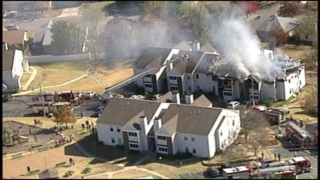 WEB EXTRA: Video Of West Tulsa Apartment Fire From SkyNews 6