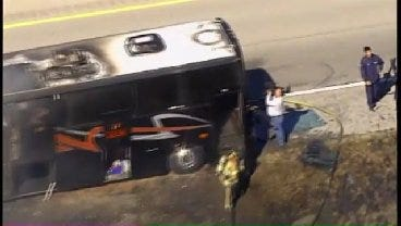 WEB EXTRA: View Of Tulsa Oiler Bus Fire From SkyNews 6