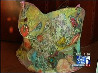 Plaster Casts Making Impressions For Breast Cancer Awareness