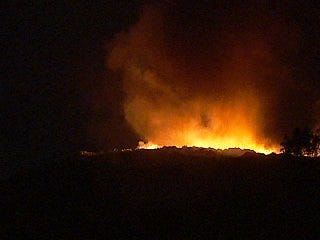 WEB EXTRA: Nighttime Video Of Turley Landfill Fire