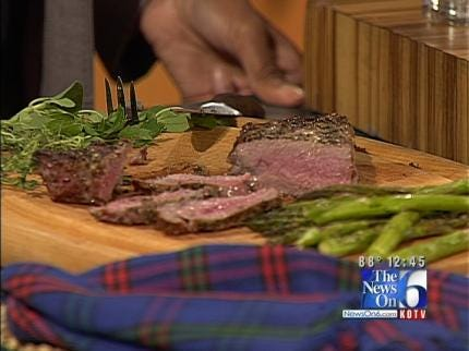 Pepper-Rubbed Strip Steaks With Grilled Vegetable Trio