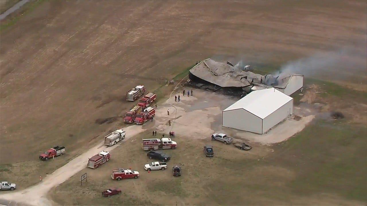 WATCH: SkyNews 6 HD Flies Over Webbers Falls Fire Department Equipment Fire