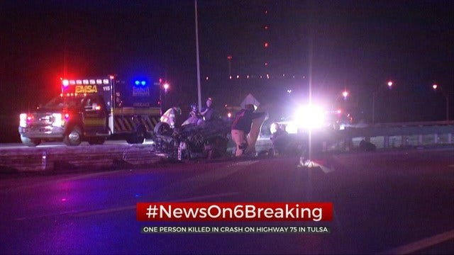 UPDATE: 1 Dead, 1 Taken To Hospital Following Overnight Crash On HWY 75