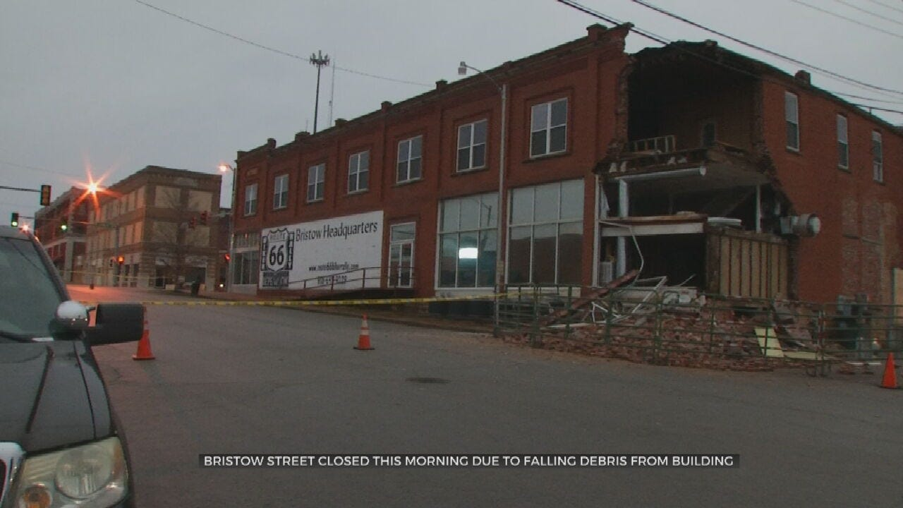 Bristow Street Closed Due To Debris From Collapsing Building