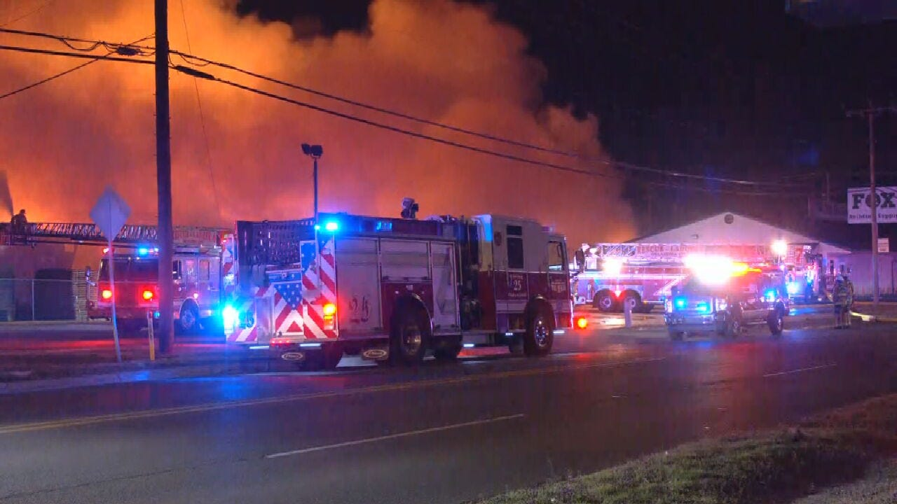 Oklahoma City Fire Crews Battling Large Building Fire