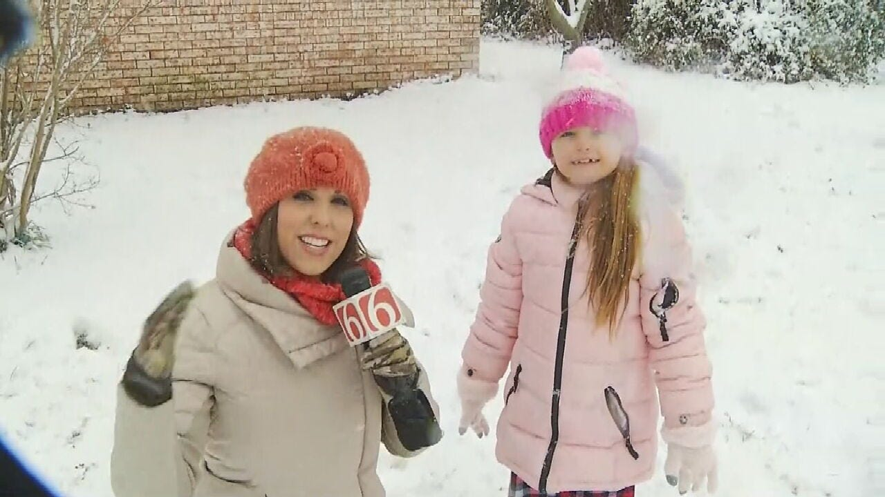 WATCH: 9-Year-Old Girl Makes Most Of Wintry Magic In Mannford