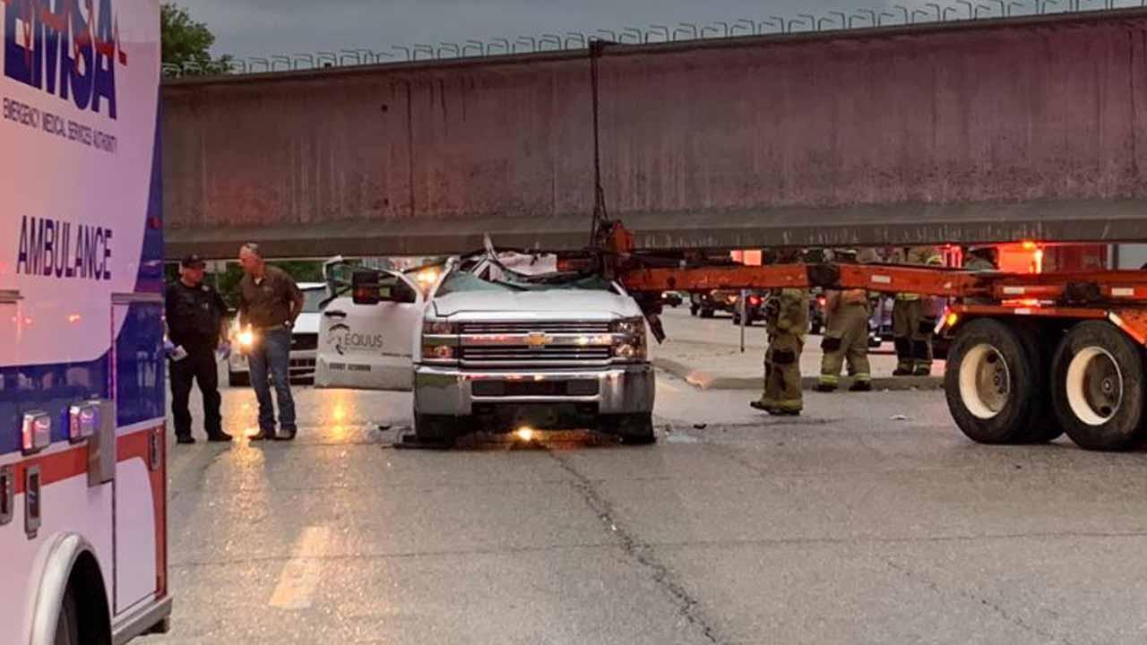 Pick-up Truck OK After Crash Involving Semi