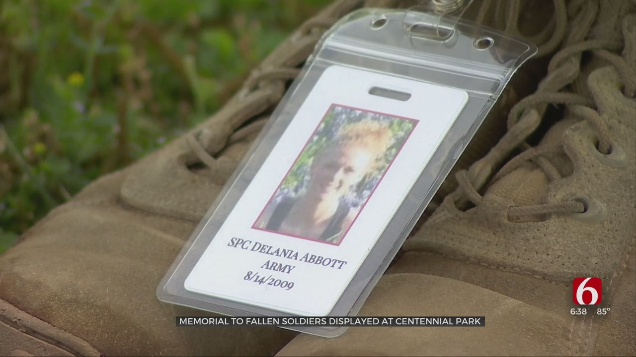 Flags And ID Tags On Display Honors Fallen Military Members