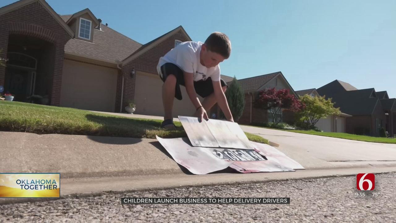 Broken Arrow Kids Start Business Painting House Numbers