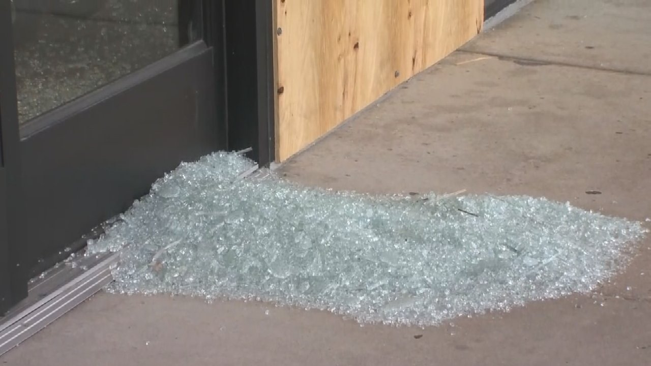 Crowds Damage Businesses Near 61st And Memorial