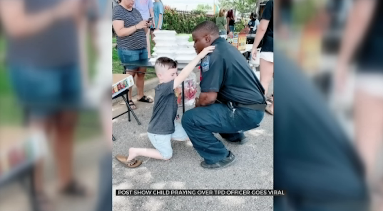 Boy Prays Over Police Officer, Wants To Pray For Every Tulsa Officer