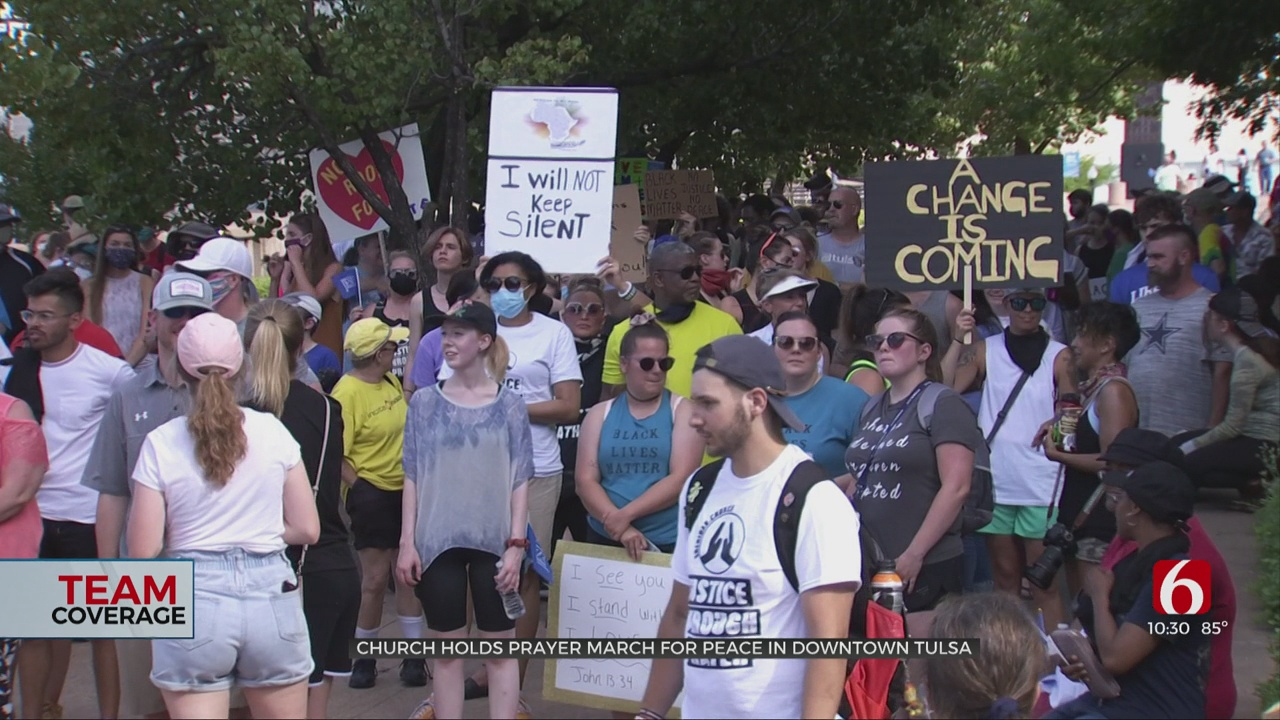 Church Holds Prayer March For End To Racial Inequality In Downtown Tulsa