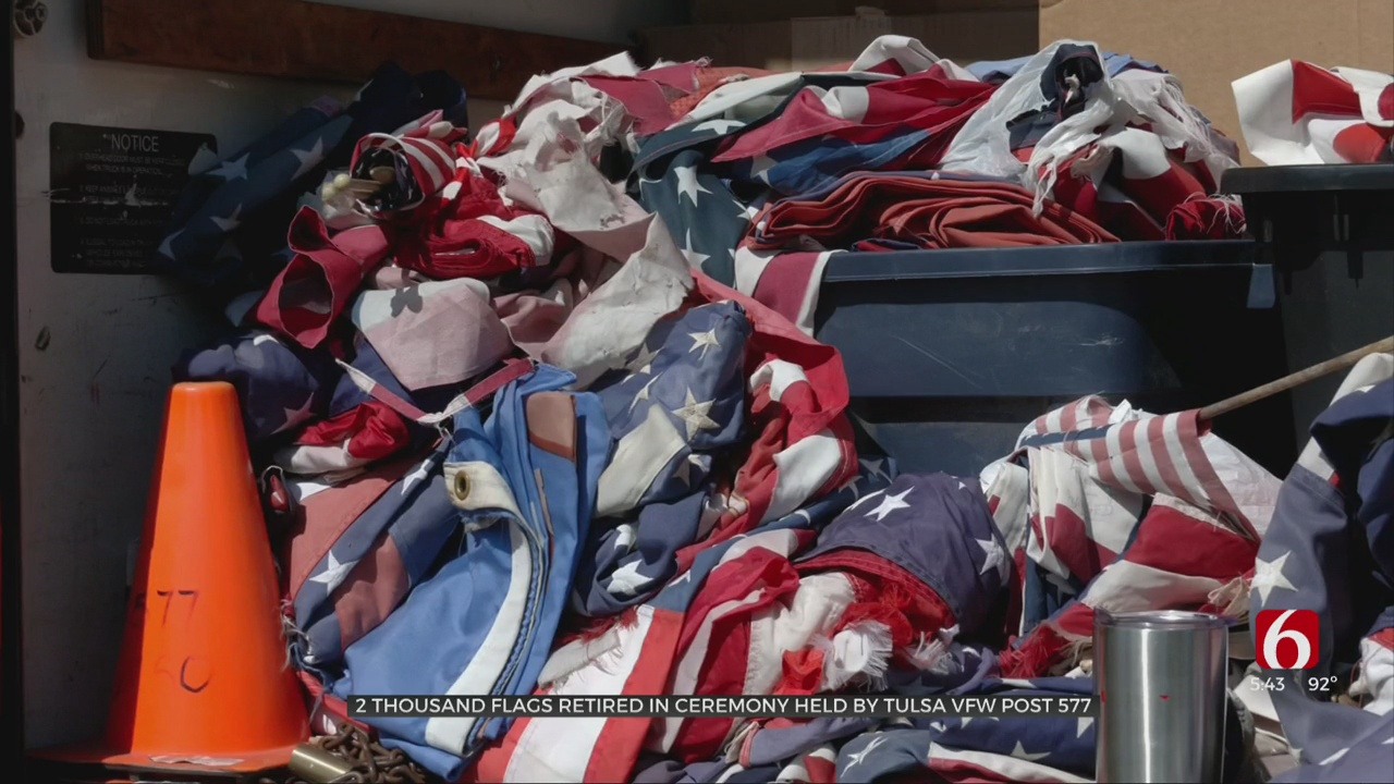 Tulsa VFW Post Retires More Than 2,000 Flags On Flag Day