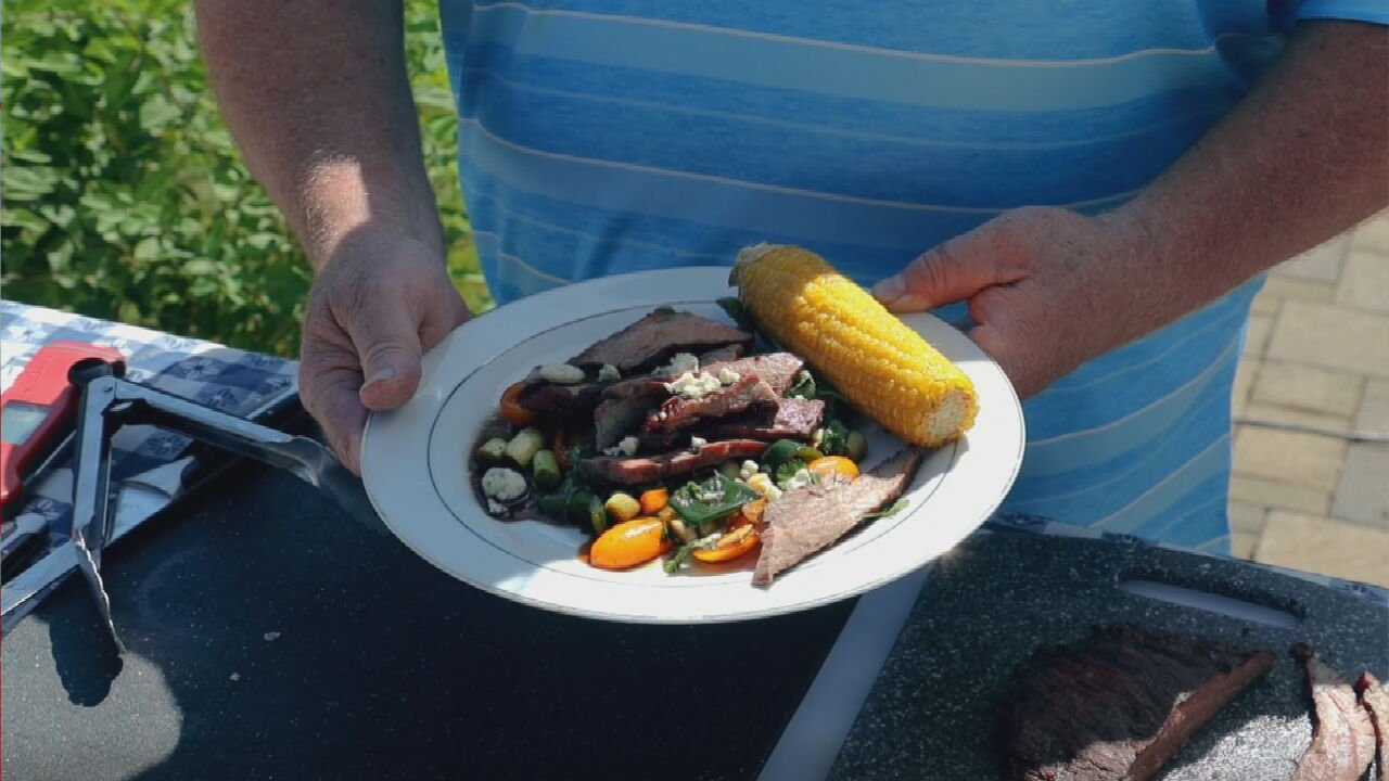 Grilled Flank Steak with Cherries and Tomato Salad & Grilled Corn on the Cob