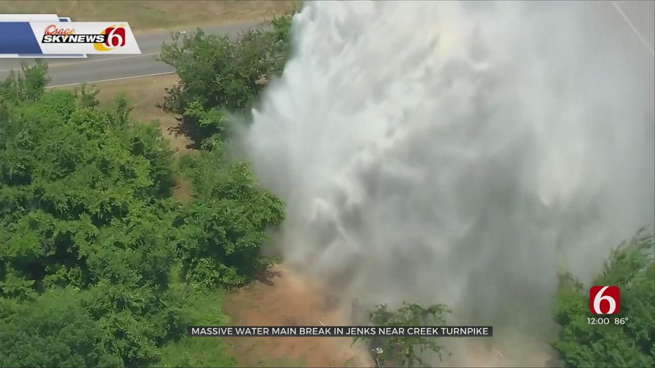WATCH: Jenks Water Main Becomes Huge Geyser