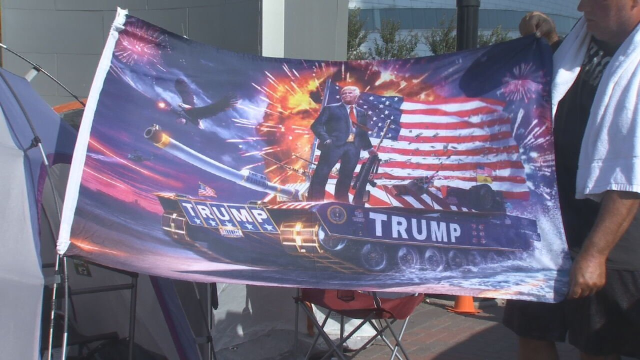 Supporters Line Up At Tulsa's BOK Center Days Before President Trump's Rally