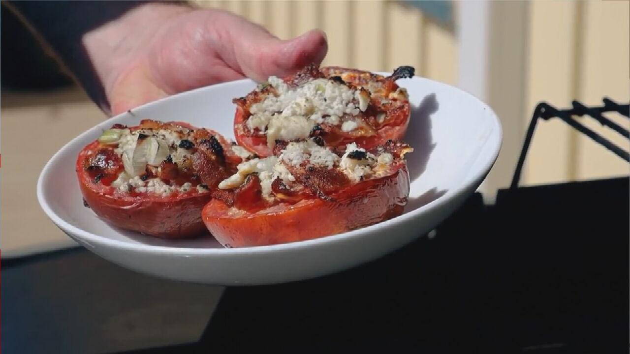 Shrimp Salad & Bacon Feta Tomatoes