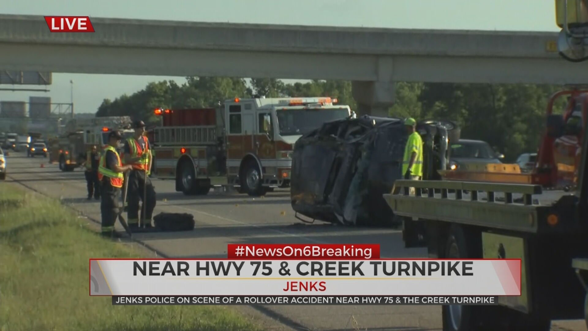 Rollover Wreck Causes Slowdown On Highway 75, 1 Taken To Hospital