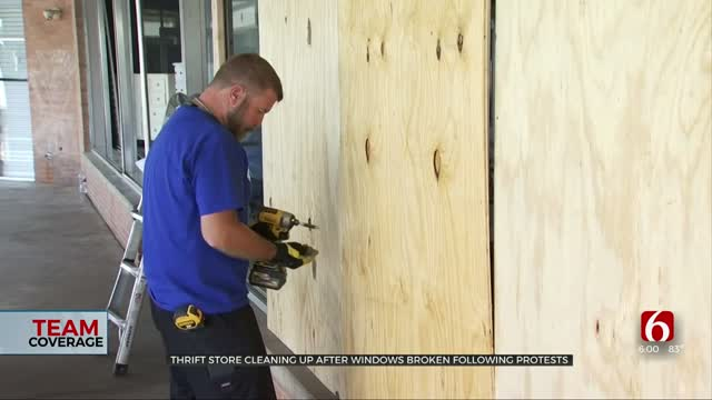 Thrift Store Cleans Up After Windows Busted During Tulsa Protests