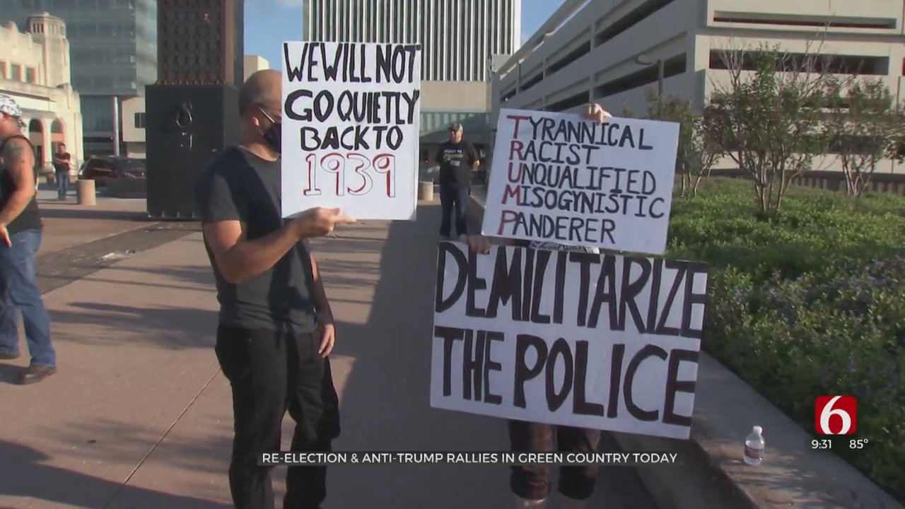 Re-Election And Anti-Trump Rallies Held In Green Country