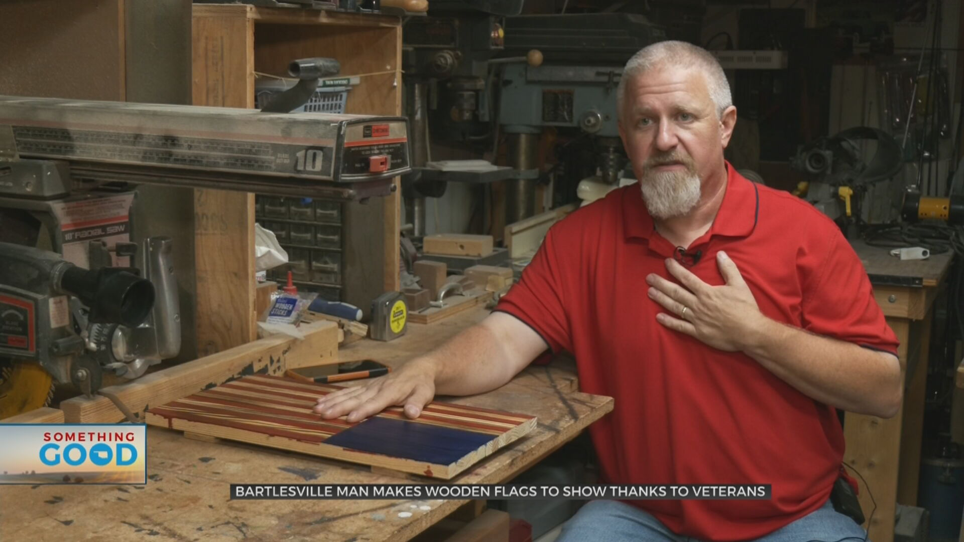 Bartlesville Man Honors Veterans By Gifting Handmade Wooden Flags