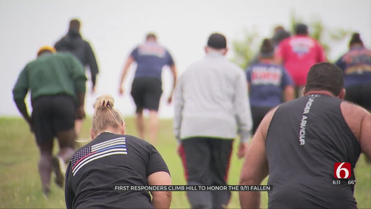 Tulsa First Responders Climb Hill To Honor The 9/11 Fallen