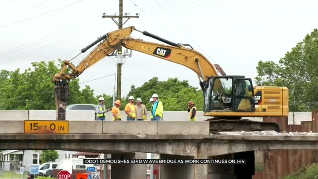 Demolition Begins At 33rd West Avenue Bridge For Widening Of I-44