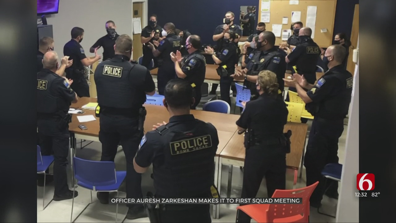 Tulsa Police Officer Zarkeshan Attends Squad Meeting