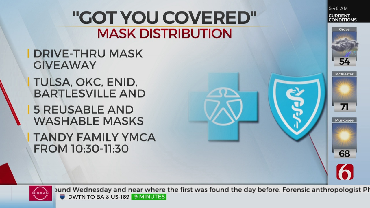 BlueCross BlueShield Of Oklahoma Holding Mask Giveaway Event