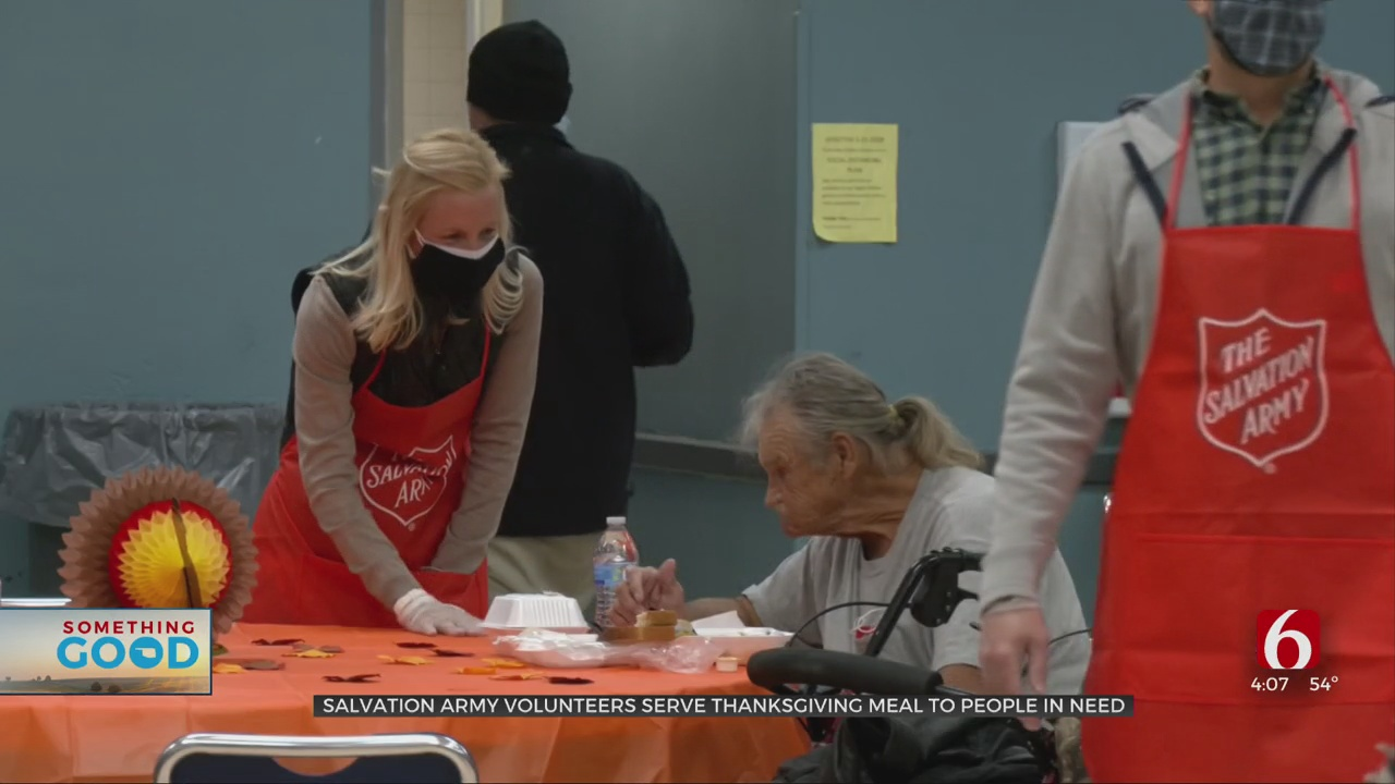 Salvation Army Volunteers Serve Thanksgiving Meal To Those In Need