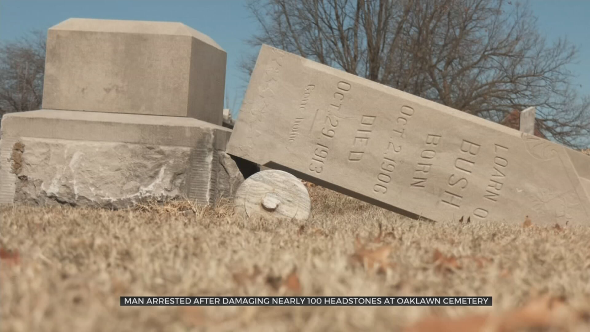 City Says At Least 60 Headstones Damaged At Oaklawn Cemetery, Suspect Arrested