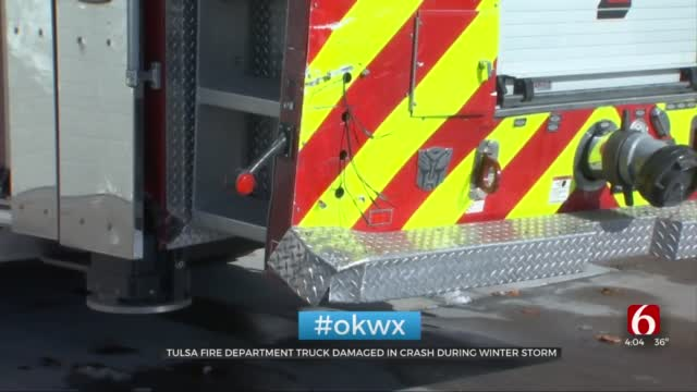 Tulsa Fire Truck Hit During Winter Weather
