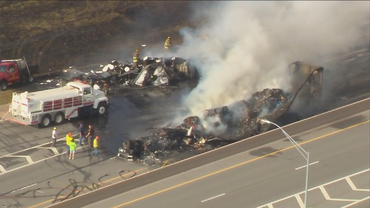 2 Semis Crash, Catch Fire On I-44 Near Big Cabin