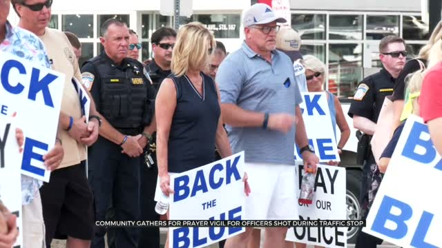Community Gathers For Prayer Vigil In Solidarity With Fallen, Injured Police Officers