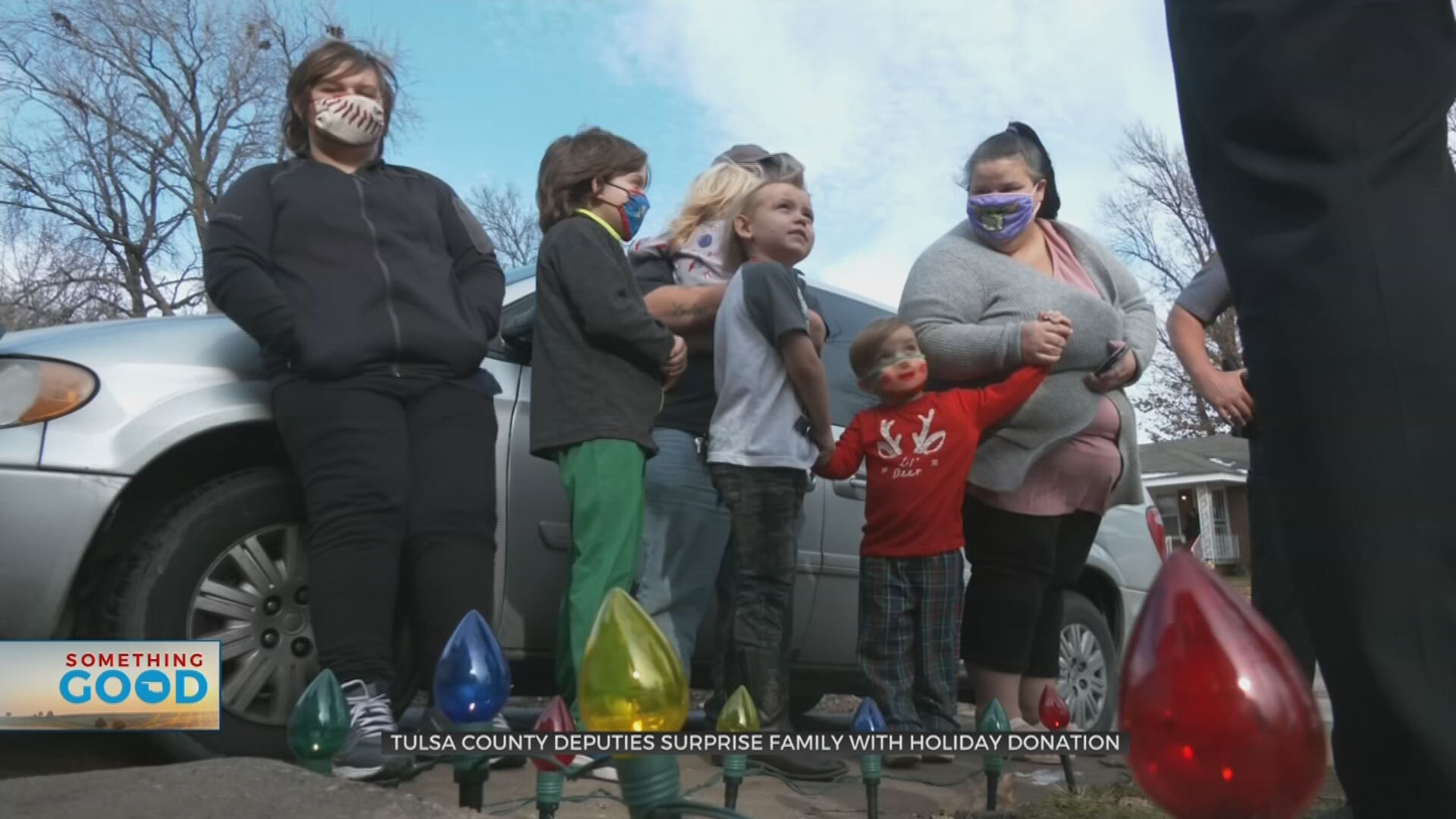 Family Of 7 Surprised With Holiday Donation From Tulsa County Deputies