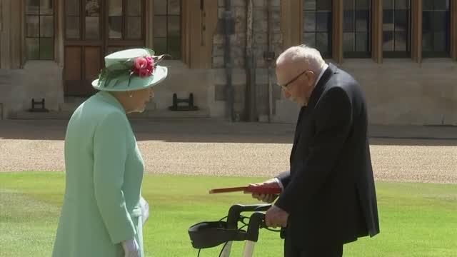 Queen Elizabeth Knights 100-Year-Old 'National Treasure' Captain Tom Moore