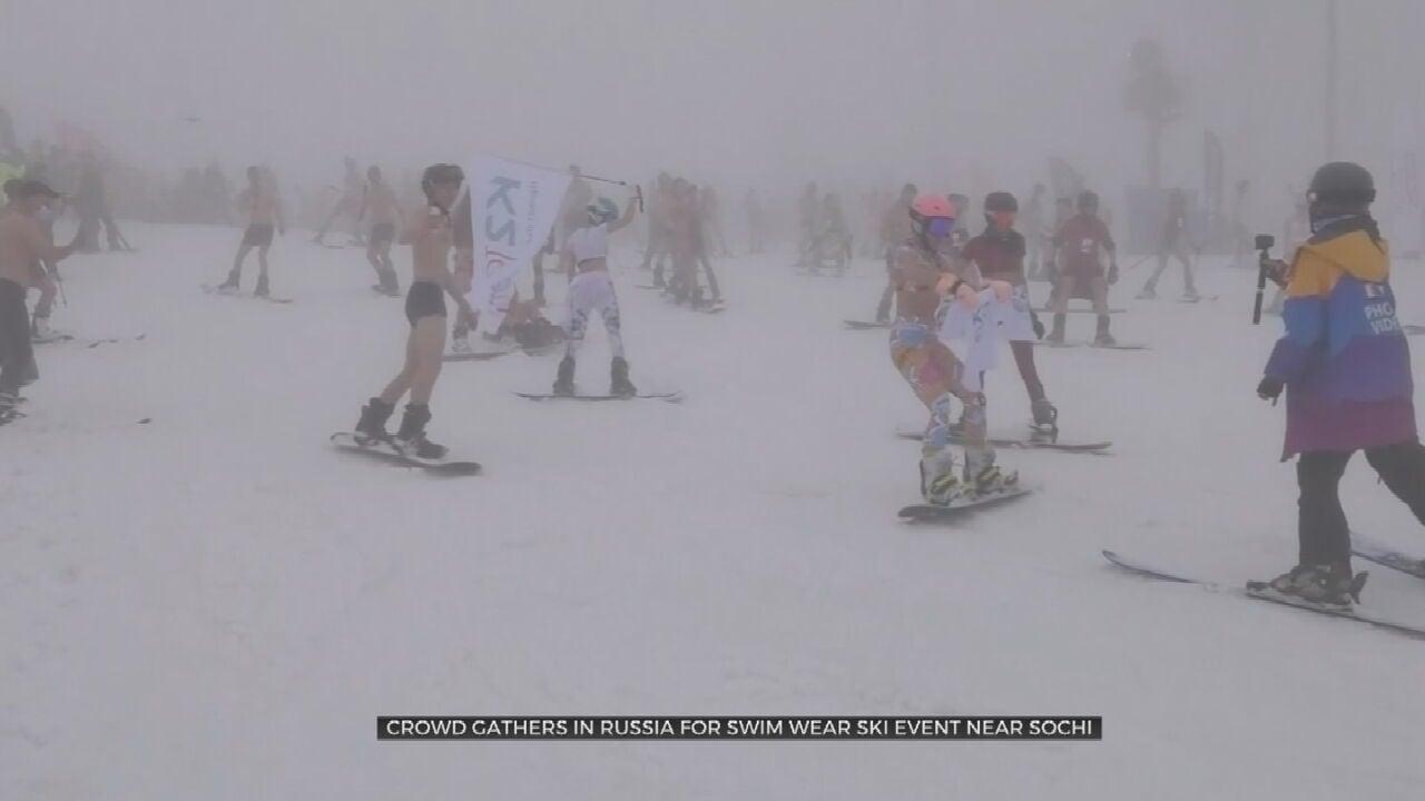 Hundreds Gather In Russia For Annual Swimwear Ski Event