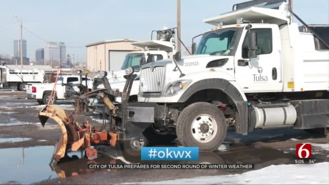 City Of Tulsa Crews Prepare For Second Round Of Winter Weather