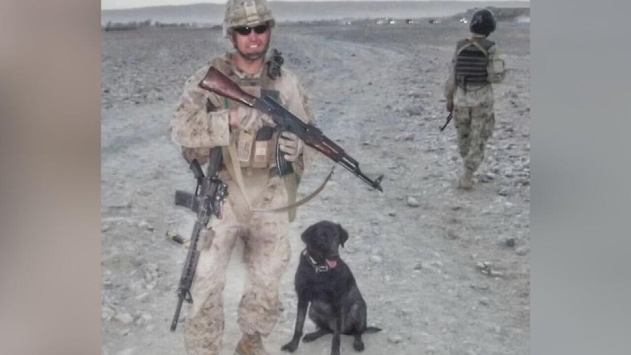 U.S. Marine Says Goodbye To Service Dog With Community Support
