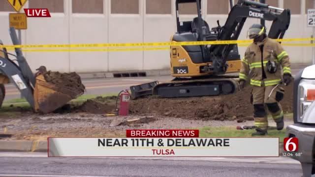 Firefighters Close Road Near 11th, Delaware While Crews Repair Gas Leak