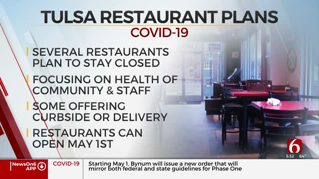 Some Tulsa Restaurants Won't Open On May 1 After Safer At Home Order Is Lifted