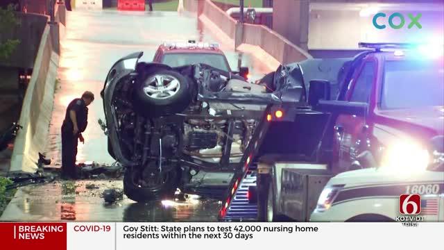 Witness Describes Truck Falling From Tulsa Parking Garage