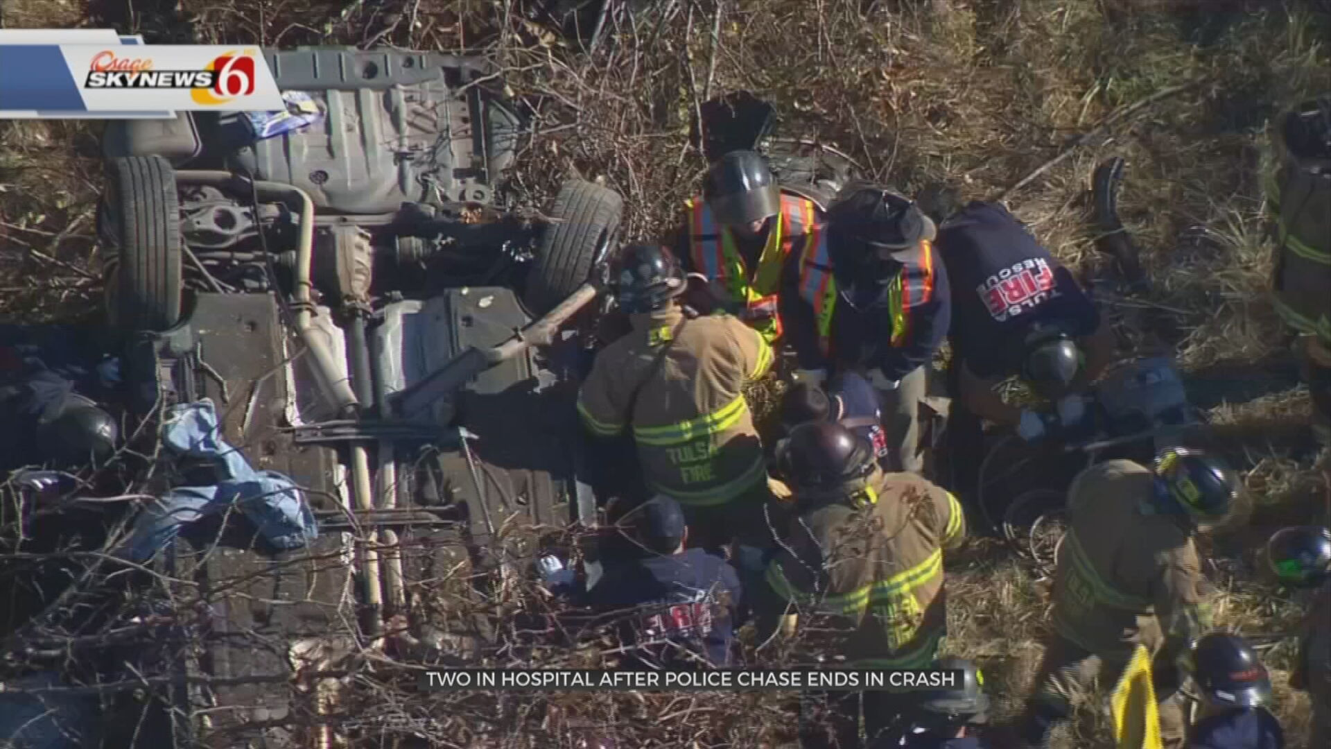 2 Taken To Hospital After Tulsa Police Chase Ends In Crash