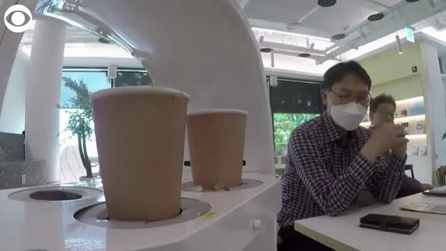 WATCH: South Korean Cafe Using Robot Barista To Aid In Physical Distancing
