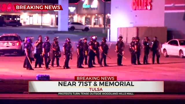 Tulsa Police Fire Pepper Balls At Protesters
