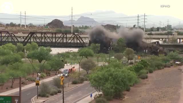 WATCH: Section Of Damaged Bridge Demolished In Tempe, Arizona