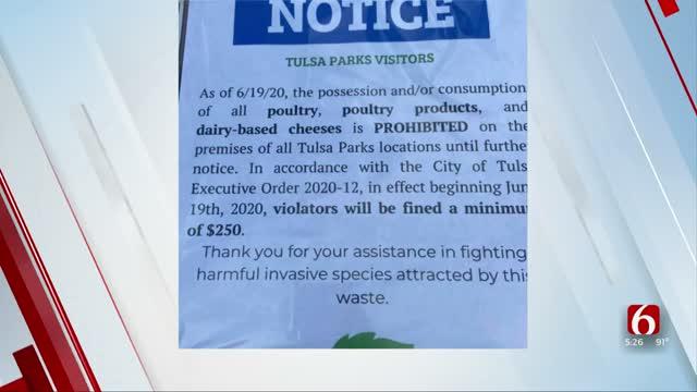City Of Tulsa: Sign That Bans Chicken, Cheese At Tulsa Parks Is Fake