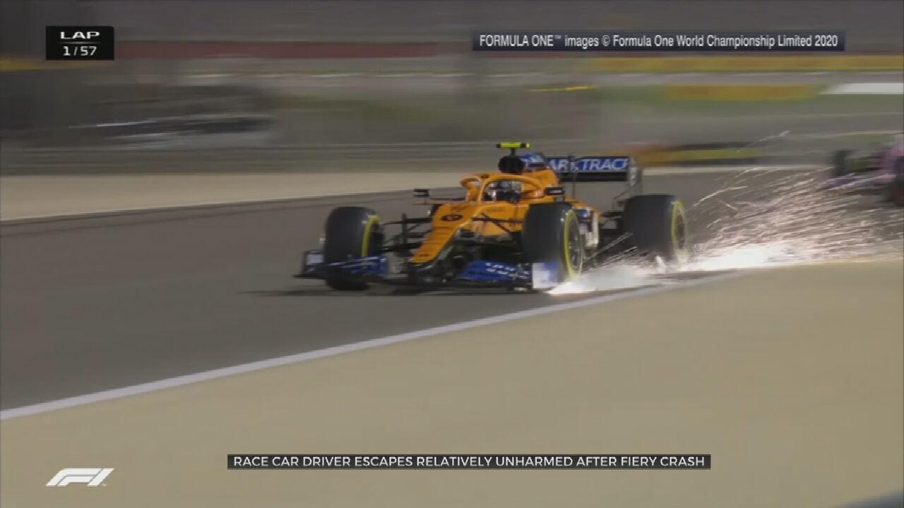 F1 Driver Escapes After Car Crashes, Splits In Half, Bursts Into Flames At Bahrain Grand Prix